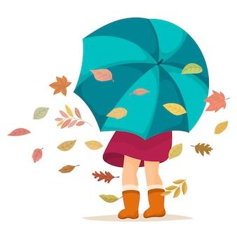 傘を持つ少女。秋