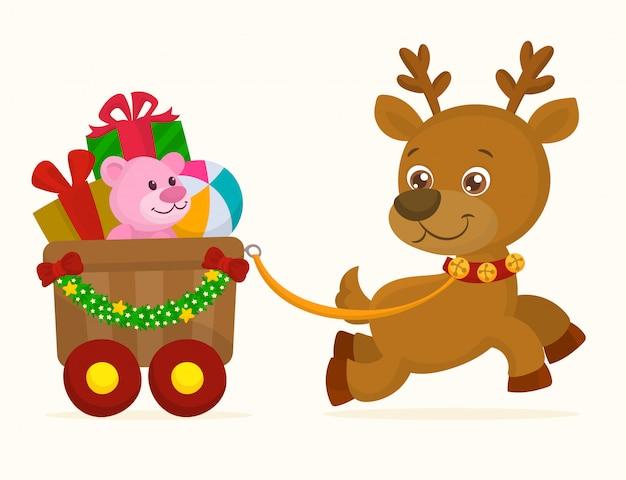 ギフト用の箱とそりを運ぶ鹿