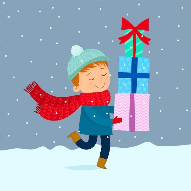 クリスマスの贈り物を運ぶ子供