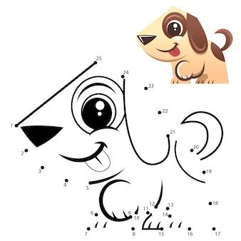 教育番号ゲーム。ドットゲームにドット。犬の漫画
