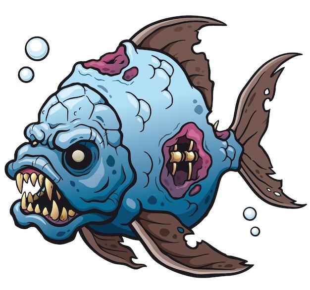 Мультяшная рыба-монстр