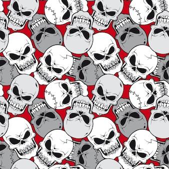 頭蓋骨の漫画とベクトルイラストのシームレスなパターン