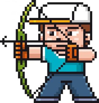 Игрок в мультяшную стрельбу из лука - пиксельный дизайн