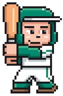 Мультфильм бейсболист - пиксельный дизайн