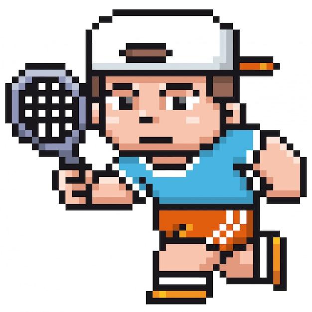 Мультфильм теннисист - пиксельный дизайн