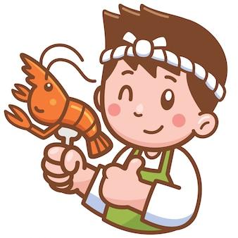 食べ物を提示する漫画シェフ