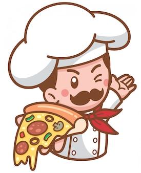 Мультяшный пицца шеф-повар представляет еду