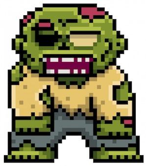 Мультфильм зомби пиксель дизайн