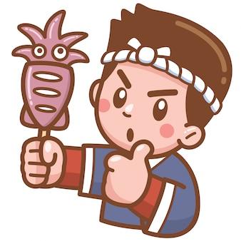 食品グリルイカを提示する漫画シェフ