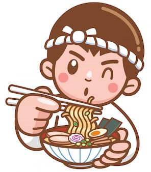 Мультяшный шеф-повар с лапшой и японской едой