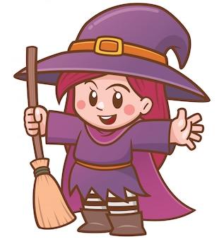 ほうきを持って漫画魔女のベクトルイラスト