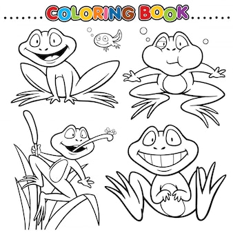 Мультфильм раскраска - лягушка