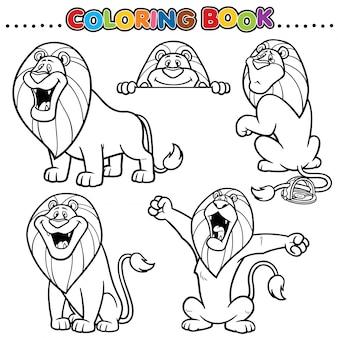 漫画の塗り絵-ライオン