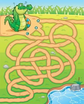 池への教育迷路ゲームワニ