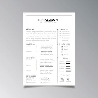 プロの履歴書デザインテンプレートのミニマリスト。求人応募テンプレートのビジネスレイアウトベクトル。