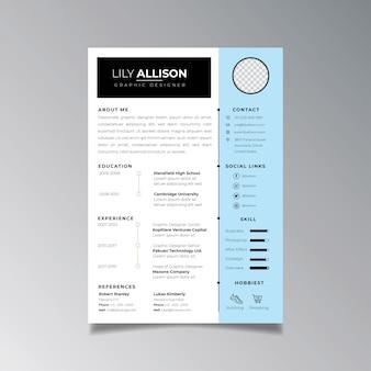 Профессиональное резюме дизайн шаблона минималистский. бизнес макет вектор для работы приложения шаблона.