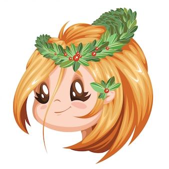 彼女の頭に花輪を捧げる少女。