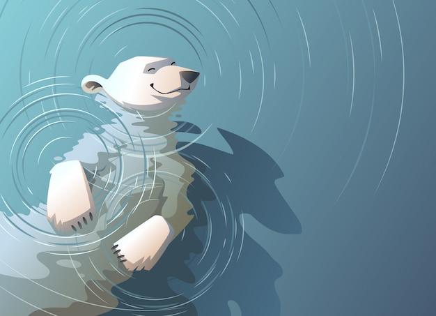 Плавающий в воде белый медведь.