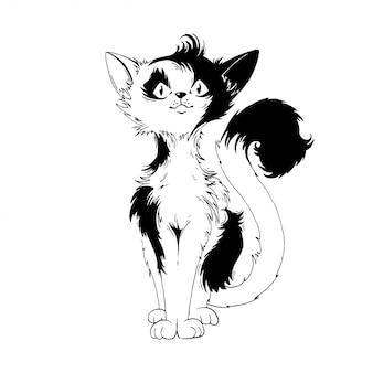 Черно-белая кошка.