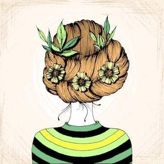 髪型インク描画