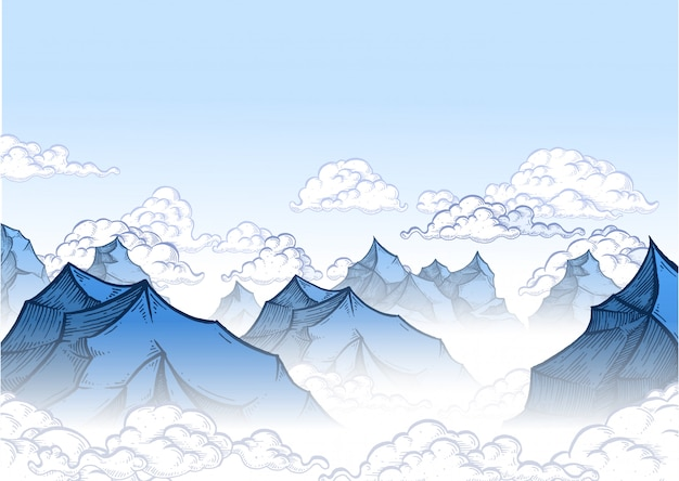 青い空の山