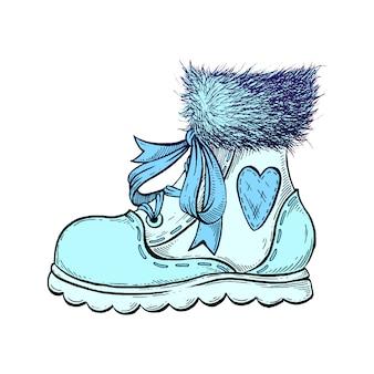 手描きの冬のブーツ。