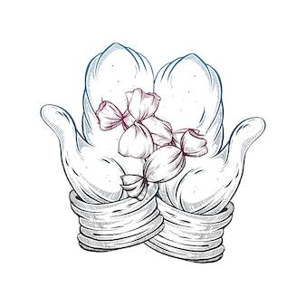 Рисованной зимние перчатки.