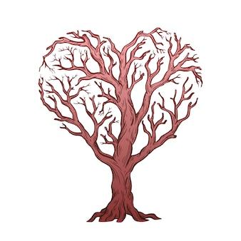 ハートの形をした木。