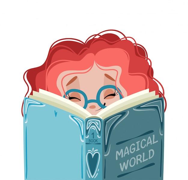 少女は本を読んでいる。