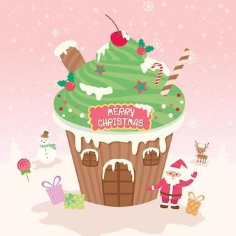 カップケーキの家クリスマススノーピンク