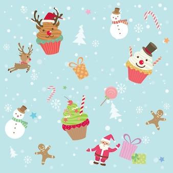 カップケーキクリスマスシームレスパターン