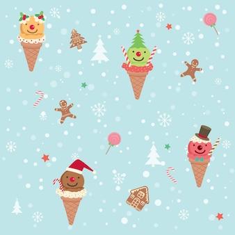 Мороженое рождественские бесшовные модели