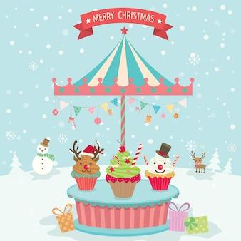 カップケーキメリーゴーラウンドクリスマス