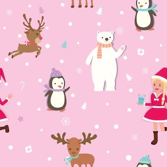 クリスマス・パターン・ピンク