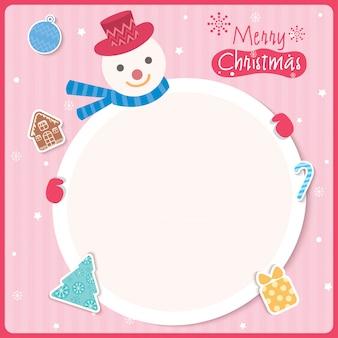 クリスマス雪だるまピンク