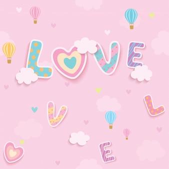 愛のピンクの空のシームレスなパターン