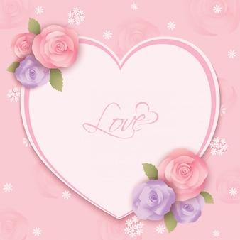 バラの花ハートフレームピンク