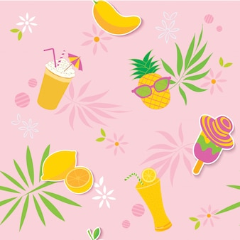 夏黄色ピンクの模様