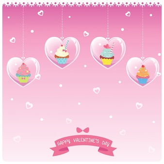 バレンタインハートカップケーキ