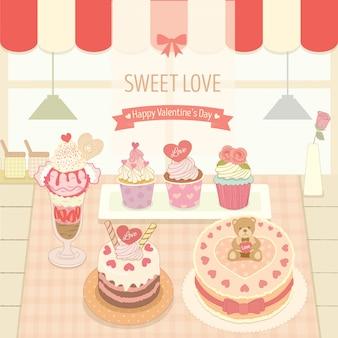 ベーカリーカフェショップでのケーキとアイスクリーム