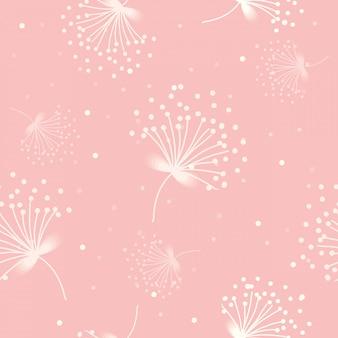 白い花粉パターンピンクの背景