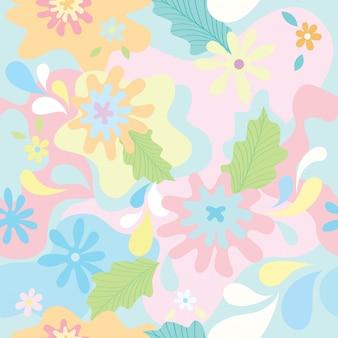 パステル調の背景色のシームレスパターンに花の偽装デザイン。