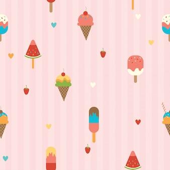 Мороженое бесшовный фон