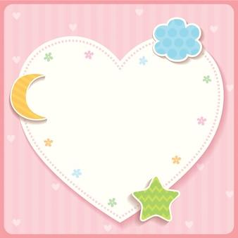 Сердце шаблон розовый.
