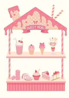 イチゴ風味の棚のための甘いメニューデザイン。