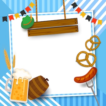 Октоберфест фестиваль кадр с напитками и едой на синем.