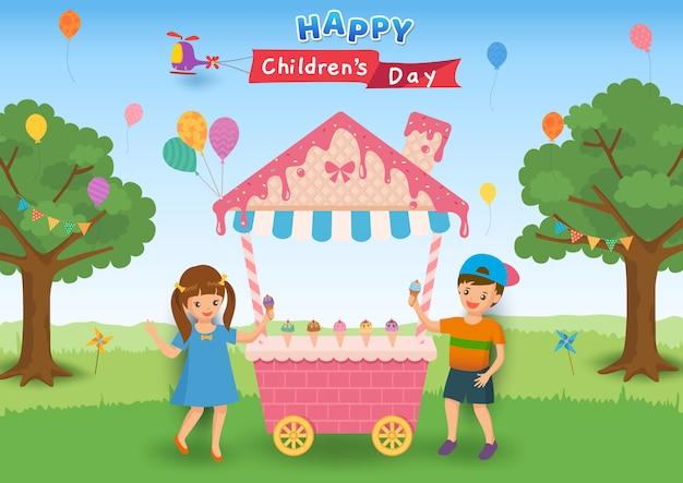 Иллюстрация дня счастливых детей с детьми ест конус мороженого на партии.