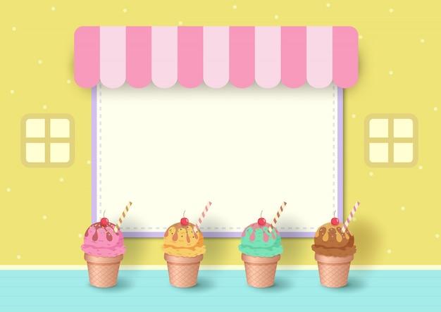 パステルイエローの背景のメニューフレームとアイスクリームコーンのイラスト