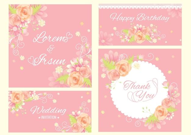 ピンクの背景に設定されたテンプレートの花のデザイン。