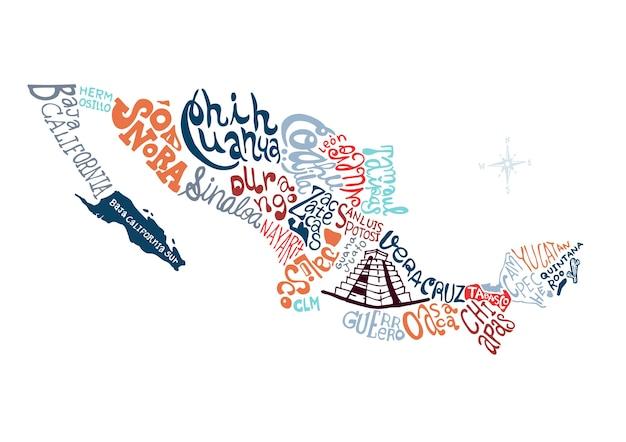 メキシコ手描き地図ベクトル図。